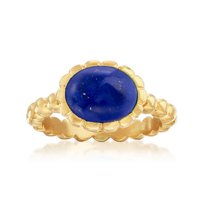 Italian 10x8mm Oval Lapis Ring in 18kt Gold Over Sterling, , default
