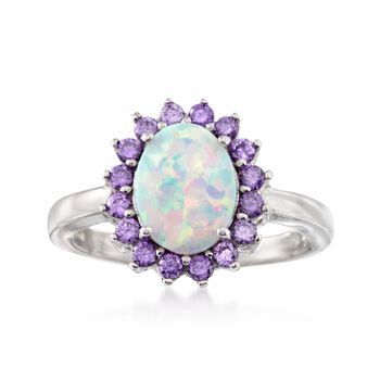 Simulated Opal and Simulated Amethyst Oval Ring in Sterling Silver, , default