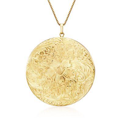 14kt Gold Over Sterling Silver Etched Locket Necklace, , default