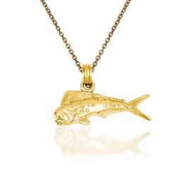 "14kt Yellow Gold Mahi Mahi Pendant Necklace. 18"", , default"