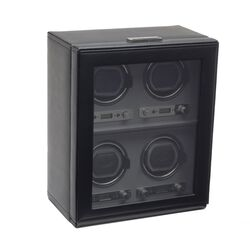 """Viceroy"" Black Faux Leather Quadruple Watch Winder by Wolf Designs, , default"
