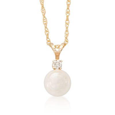 7-7.5mm Cultured Akoya Pearl and Diamond Accent Necklace in 14kt Yellow Gold, , default