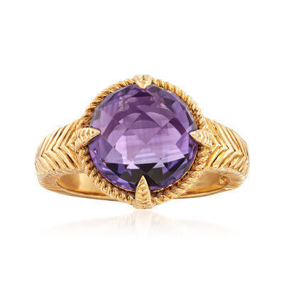 4.00 Carat Amethyst Ring in 18kt Gold Over Sterling