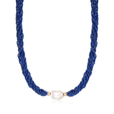12-14mm Baroque Pearl and 2-4mm Lapis Bead Torsade Necklace in 14kt Yellow Gold