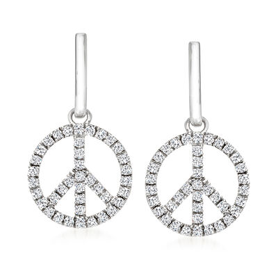 1.00 ct. t.w. Diamond Peace Sign Drop Earrings in Sterling Silver