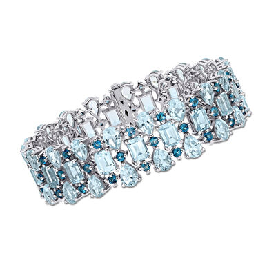 55.00 ct. t.w. London and Sky Blue Topaz Multi-Row Bracelet in Sterling Silver