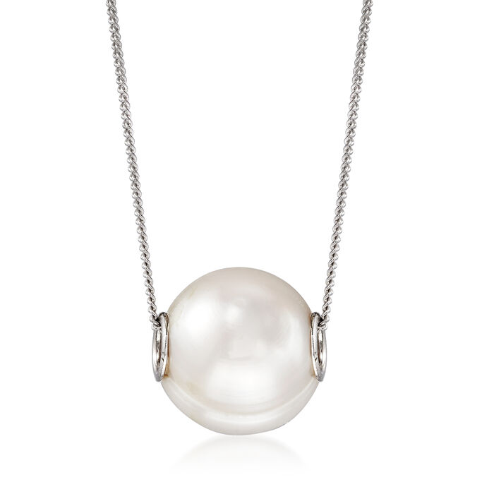 10-10.5mm Cultured Pearl Pendant Necklace in Sterling Silver