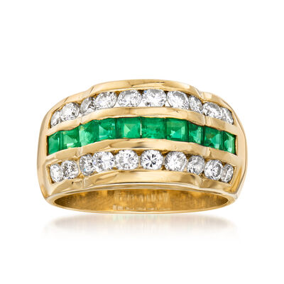 C. 1980 Vintage .97 ct. t.w. Diamond and .75 ct. t.w. Emerald Ring in 18kt Yellow Gold