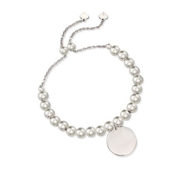 Sterling Silver Personalized Disc and Bead Bolo Bracelet, , default