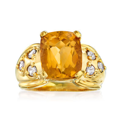 C. 1970 Vintage 5.45 Carat Citrine and .60 ct. t.w. White Sapphire Ring in 10kt Yellow Gold