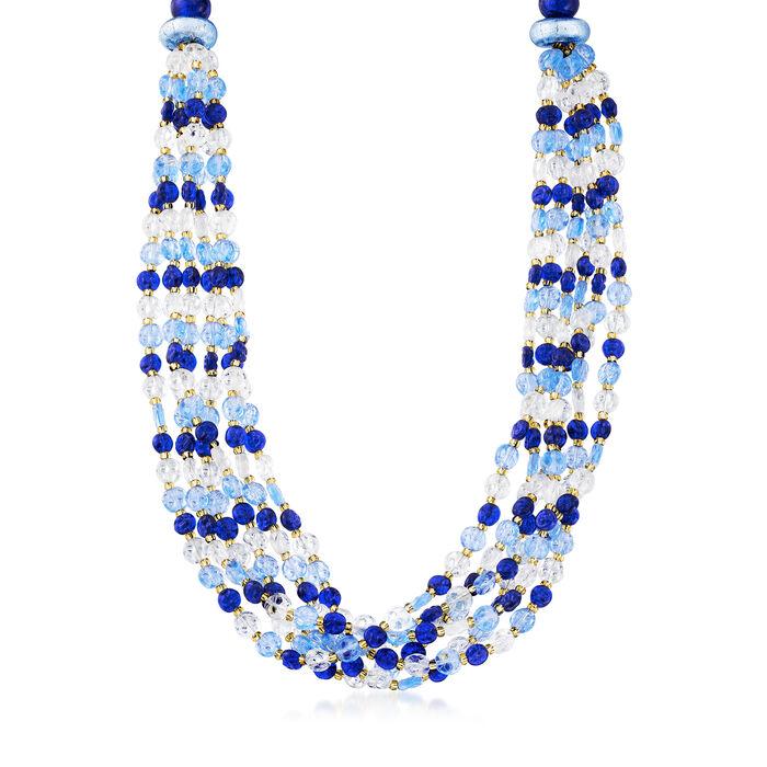Italian Multicolored Murano Bead Six-Strand Necklace in Sterling Silver