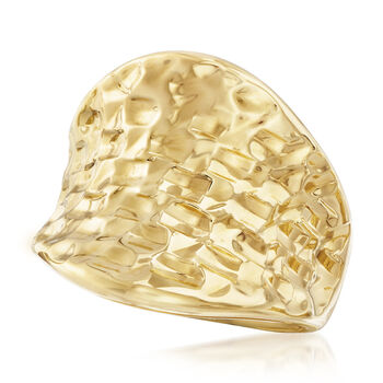 Italian Andiamo 14kt Yellow Gold Concave Ring, , default