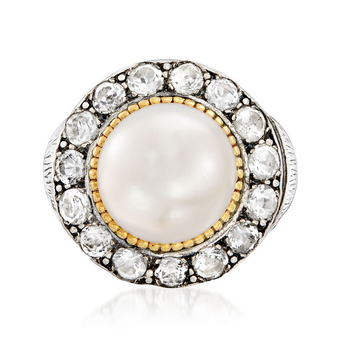 11-12mm Cultured Pearl and 1.90 ct. t.w. White Topaz Ring in Sterling Silver and 14kt Yellow Gold. Size 5