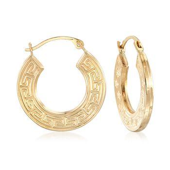 """14kt Yellow Gold Greek Key Hoop Earrings. 3/4"""", , default"""
