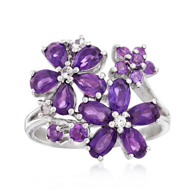 2.10 ct. t.w. Amethyst and .10 ct. t.w. White Zircon Flower Ring in Sterling Silver