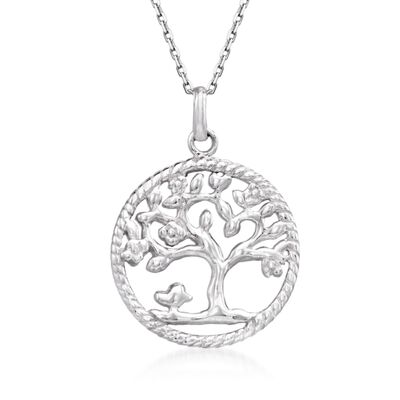 Sterling Silver Roped Tree of Life Pendant Necklace