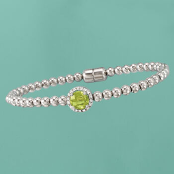1.30 Carat Peridot Beaded Bracelet in Sterling Silver with Magnetic Clasp