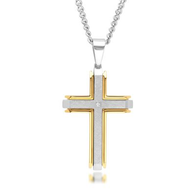 Men's Two-Tone Stainless Steel Cross Pendant Necklace with Diamond Accent, , default