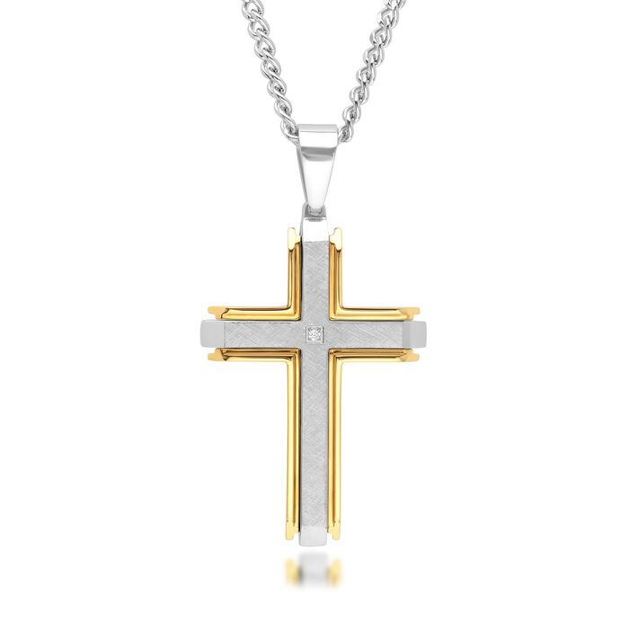 Men's Two-Tone Stainless Steel Cross Pendant Necklace with Diamond Accent. 24""