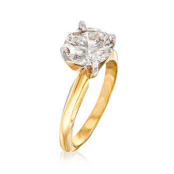 C. 1980 Vintage 2.10 Carat Diamond Solitaire Ring in 14kt Yellow Gold. Size 6