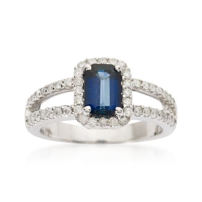 1.15 Carat Sapphire and .55 ct. t.w. Diamond Ring in 14kt White Gold, , default