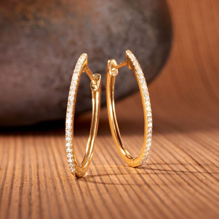 .33 ct. t.w. Diamond Hoop Earrings in 14kt Yellow Gold