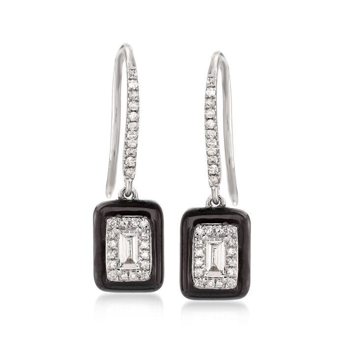 .30 ct. t.w. Diamond Drop Earrings with Black Enamel in 18kt White Gold