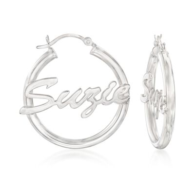 Sterling Silver Script Name Hoop Earrings, , default