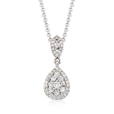 Gabriel Designs .33 ct. t.w. Diamond Drop Necklace in 14kt White Gold, , default