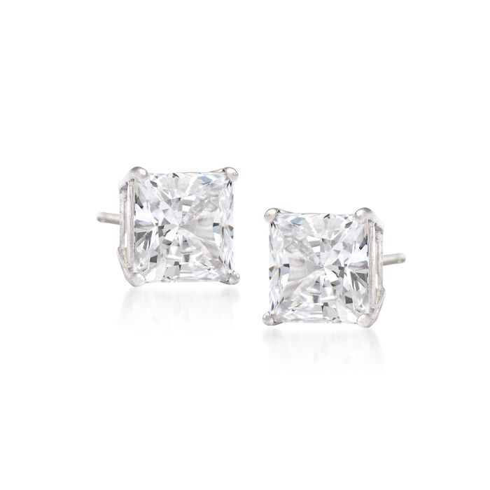 .33 ct. t.w. Princess-Cut Diamond Stud Earrings in 14kt White Gold, , default