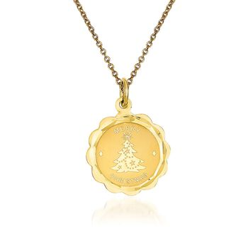 """14kt Yellow Gold Merry Christmas Pendant Necklace. 18"""", , default"""