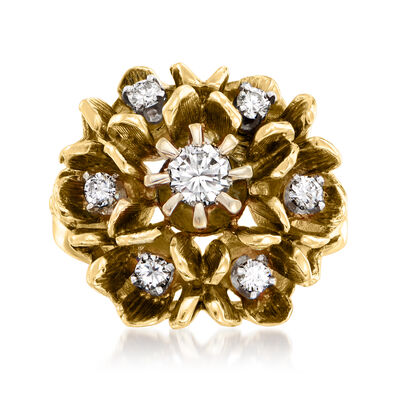 C. 1970 Vintage .55 ct. t.w. Diamond Flower Ring in 14kt Yellow Gold