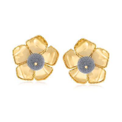 Italian Diamond Stardust Floral Earrings in 18kt Yellow Gold, , default