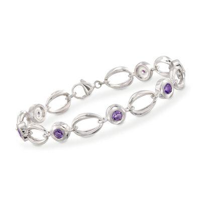 Zina Sterling Silver 1.40 ct. t.w. Amethyst Oval Link Bracelet, , default
