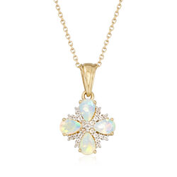 Ethiopian Opal and .18 ct. t.w. White Topaz Floral Necklace in 14kt Gold Over Sterling, , default