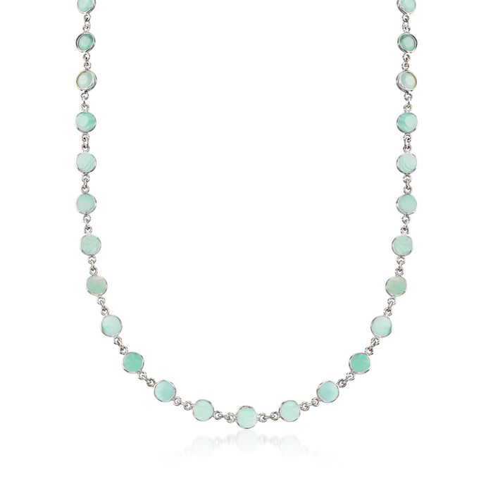 20.00 ct. t.w. Emerald Bead Station Necklace in Sterling Silver