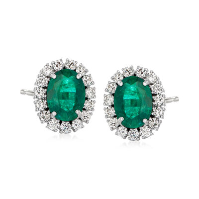 3.70 ct. t.w. Emerald and 1.20 ct. t.w. Diamond Earrings in 18kt White Gold