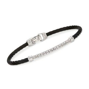 "ALOR ""Burano"" 1.40 ct. t.w. White Topaz Black Cable Bracelet With 14kt White Gold. 7"", , default"