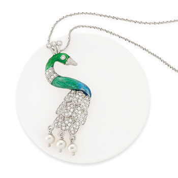 Italian 1.30 ct. t.w. CZ and 5.5-6mm Cultured Pearl with Enamel Peacock Pendant in Sterling Silver. Pendant, , default