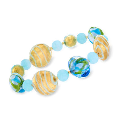 Italian Blue Murano Glass Bead Stretch Bracelet, , default