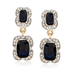 2.80 ct. t.w. Sapphire and .25 ct. t.w. Diamond Drop Earrings in 14kt Yellow Gold , , default