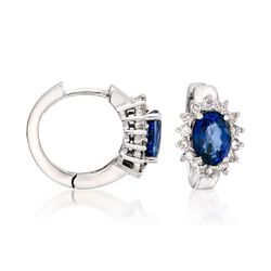 2.00 ct. t.w. Sapphire and .40 ct. t.w. Diamond Hoop Earrings in 14kt White Gold, , default