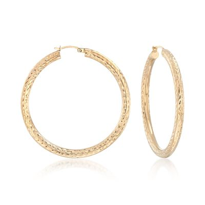 14kt Yellow Gold Diamond-Cut Hoop Earrings, , default