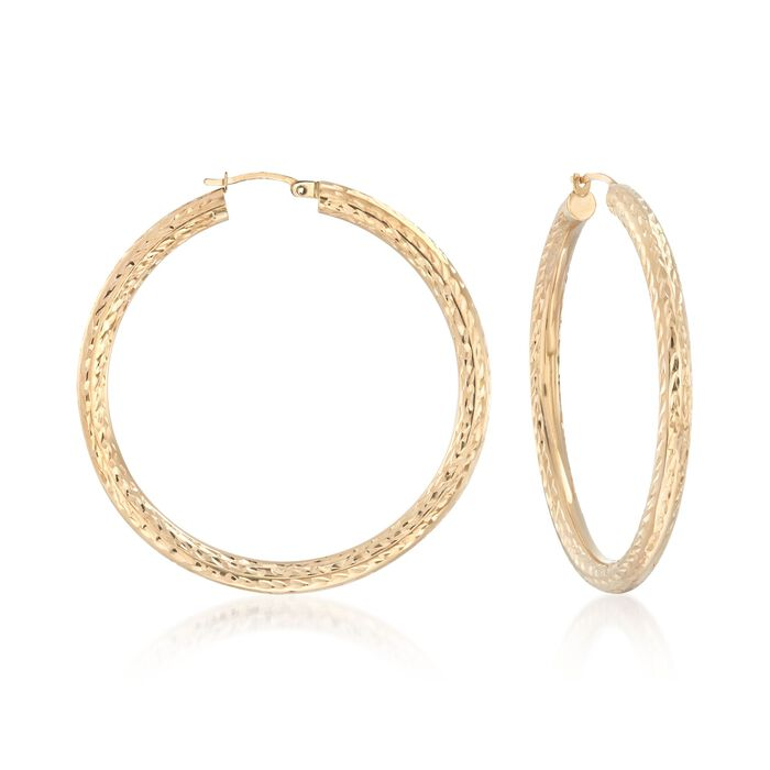 "14kt Yellow Gold Diamond-Cut Hoop Earrings. 2"", , default"