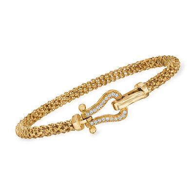 """Phillip Gavriel """"Popcorn"""" .20 ct. t.w. Diamond Bracelet in 14kt Yellow Gold, , default"""