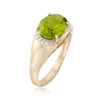 2.80 Carat Oval Peridot Ring With Diamond Accents in 14kt Yellow Gold, , default