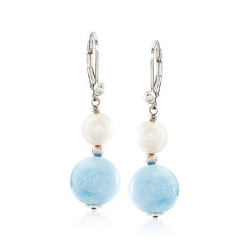 8-8.5mm Cultured Pearl and 12mm Aquamarine Bead Drop Earrings in Sterling Silver , , default