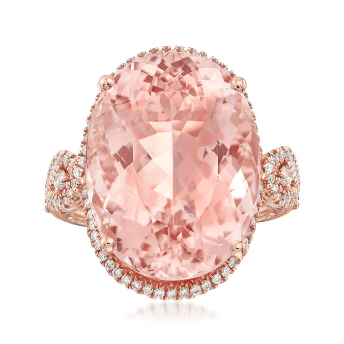 18.00 Carat Pink Morganite and .45 ct. t.w. Diamond Ring in 14kt Rose Gold. Size 7