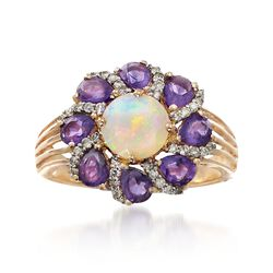 Opal and 1.20 ct. t.w. Amethyst Ring With .20 ct. t.w. Diamonds in 14kt Yellow Gold, , default