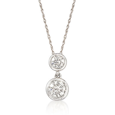 .75 ct. t.w. Diamond Double Bezel Drop Pendant Necklace in 14kt White Gold, , default